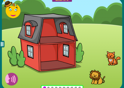 Level 1. Animals live in a two-story house. Imagine: The cat lives on top of the lion.