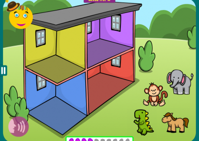 Level 5: Animals live in a two-story house. Imagine: the monkey lives on top of the horse and behind the elephant.