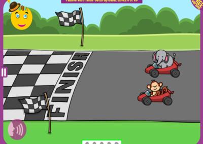 Level 5 of 20: The monkey finished behind the elephant. Who won?