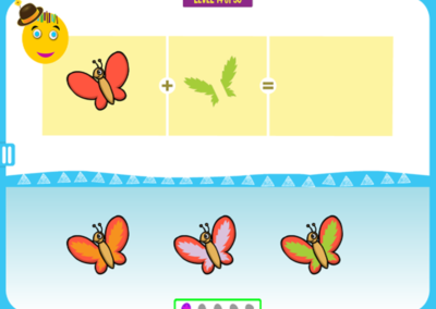 Level 14 of 50: Notice the color of the butterfly's wing pattern.